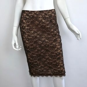 {Rebecca Taylor} Brown Lace Pencil Skirt